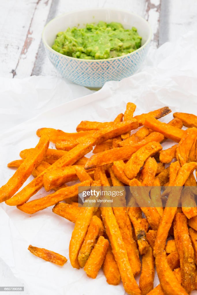 Sweet Potato French Fries with Avocado Sauce : Stock Photo