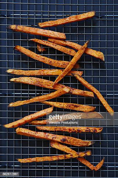 Sweet potato fries on rack