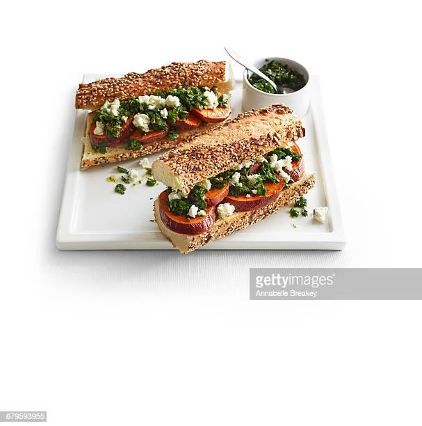Sweet potato sandwiches with feta & salsa verde