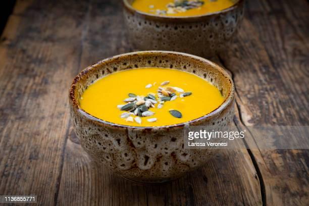 Sweet potato soup with mango, curcuma and coconut milk