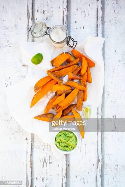 sweet potato wedges with avocado dip