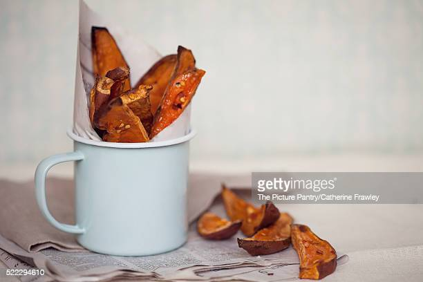 Sweet Potato Wedges with Chilli in a serving cup