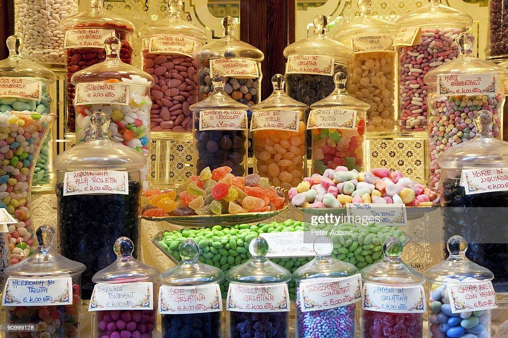 Sweet shop window, Bergamo, Lombardy, Italy : Stock Photo