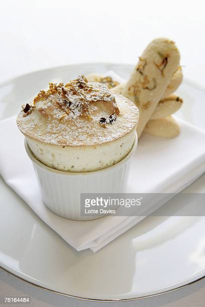 Sweet souffle with biscuits, close-up