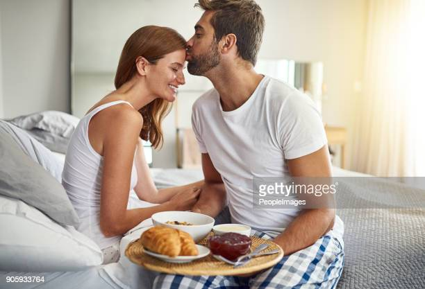 sweet sunday morning spoils - breakfast in bed stock pictures, royalty-free photos & images