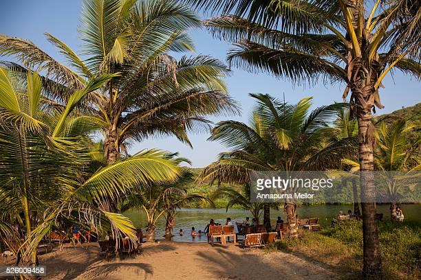 sweet water lake at arambol beach, goa - goa stock photos and pictures