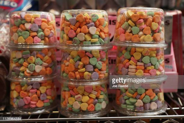 Sweetheart candy hearts are seen on the shelf at the To The Moon Marketplace on January 29 2019 in Wilton Manors Florida William Newcomb who works at...