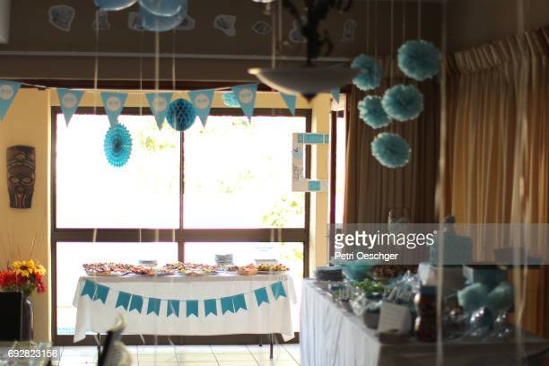 sweets and candy table. - baby shower stock pictures, royalty-free photos & images