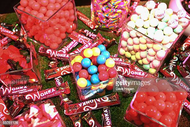 Sweets and chocolate displays at the after show party following the UK Premiere of Charlie And The Chocolate Factory at The Old Billinsgate fish...