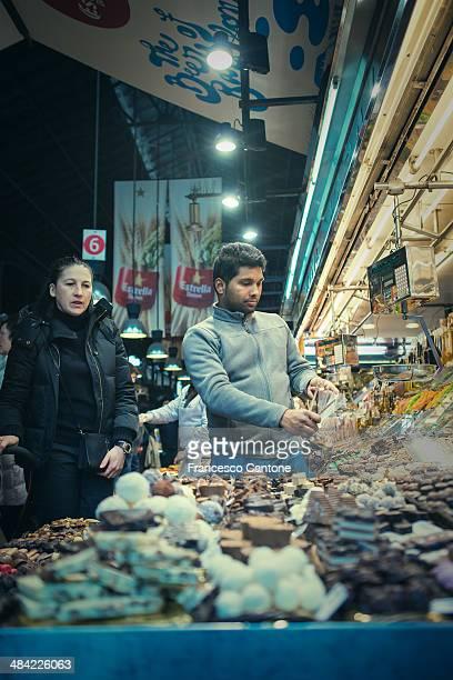 Sweets and chocolate Market at La Boqueria, Barcelona