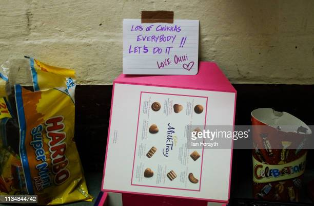Sweets and good luck messages are left for the dancers back stage during the World Premier of Northern Ballet's performance of 'Victoria' at Leeds...