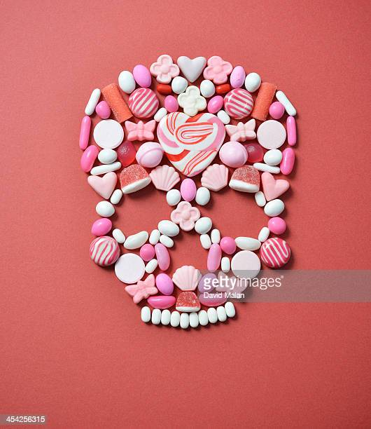 Sweets arranged to form a skull shape.