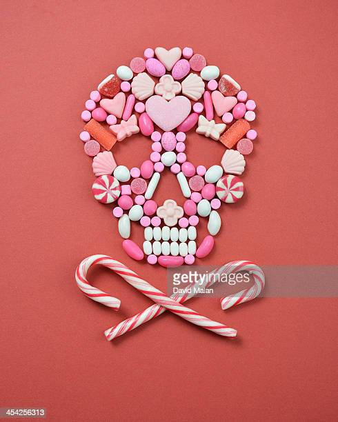 Sweets arranged to resemble a skull & crossbones