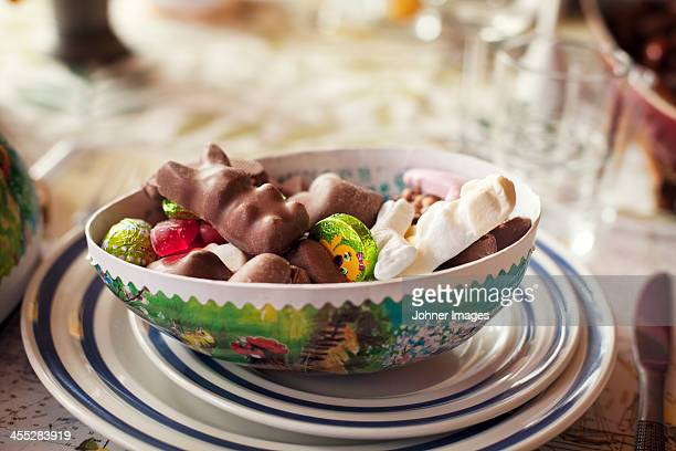 sweets in bowl, close-up - sweet food stock pictures, royalty-free photos & images