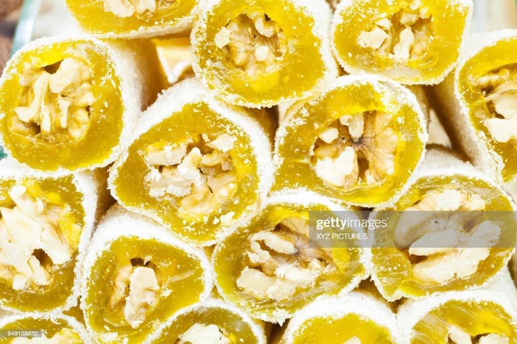 Sweets Turkish Walnut Delights On Display Grand Bazaar Istanbul