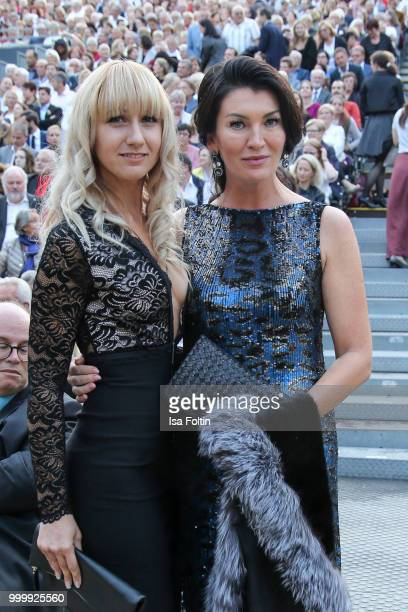 Swetlana Panfilow and guest attend the Thurn Taxis Castle Festival 2018 'Evita' Musical on July 15 2018 in Regensburg Germany