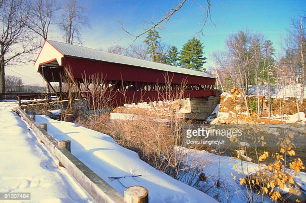 swift river bridge conway new hampshire - covered bridge stock photos and pictures