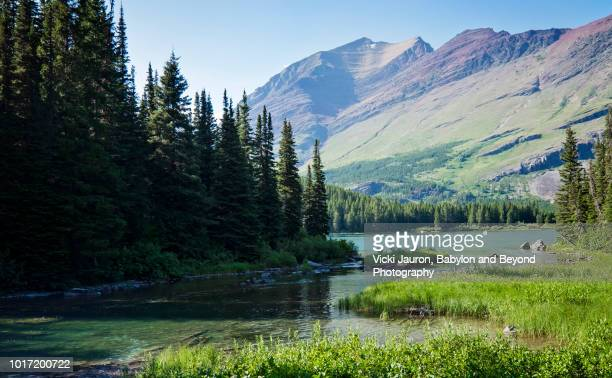 Swiftcurrent Creek Against Mountain Background at Many Glacier, Montana