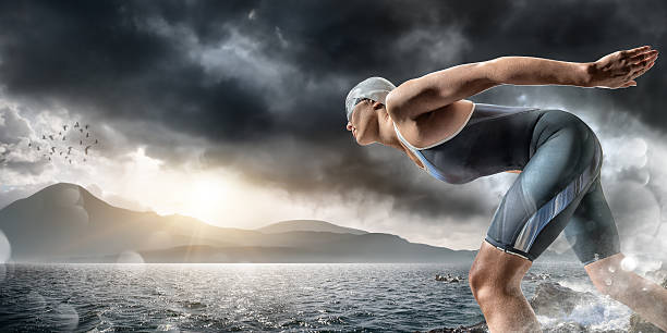 Swimmer About To Dive In Sea Wall Art