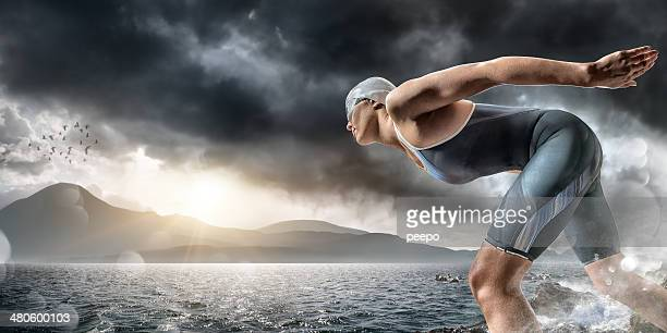 Swimmer About To Dive In Sea