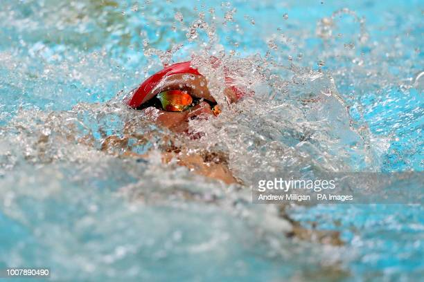 Swimmer Adam Peaty training during the media day at Stirling University