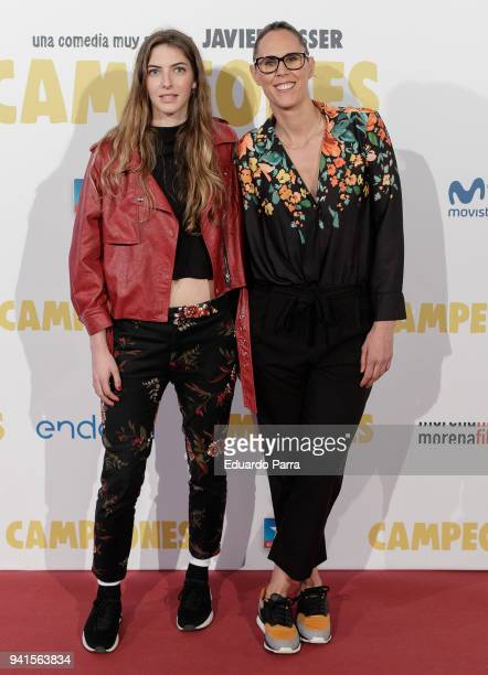 Swimmer Alejandra Alvarez and former basketball player Amaya Valdemoro attend the 'Campeones' premiere at Kinepolis cinema on April 3 2018 in Madrid...