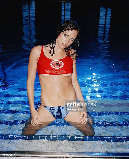 Swimmer Amanda Beard is photographed for FHM Magazine on February 15 2004 in Orlando Florida