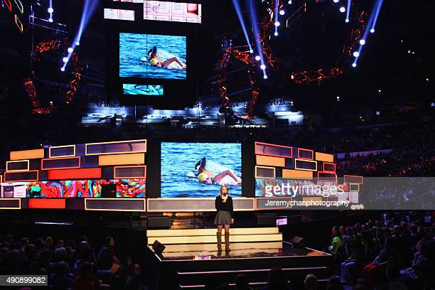 Swimmer Annaleise Carr speaks during WE Day Toronto at the Air Canada Centre on October 1 2015 in Toronto Canada