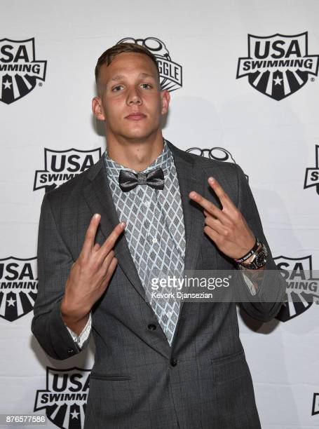 Swimmer Caeleb Dressel attends the 2017 USA Swimming Golden Goggle Awards at JW Marriott at LA Live on November 19 in Los Angeles California