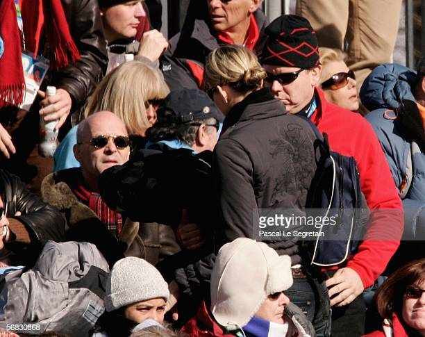 Swimmer Charlene Wittstock and Prince Albert II of Monaco watch the Mens Downhill Alpine Skiing Final on Day 2 of the 2006 Turin Winter Olympic Games...