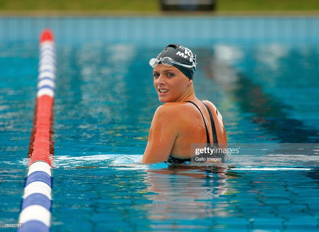 Swimmer Charlene Wittstock pauses during a training session on December 2, 2006 in Richards Bay, South Africa.