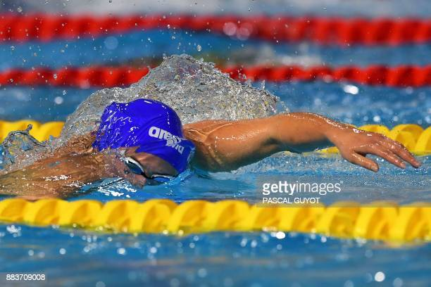 Swimmer Charlotte Bonnet competes in the final of the women's 200meters freestyle 25m French swimming championships in Montpellier on December 1 2017...