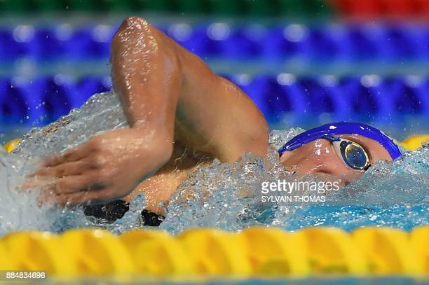 Swimmer Charlotte Bonnet competes in the Women's 400meters freestyle final at the 25m French swimming championships in Montpellier on December 3 2017...