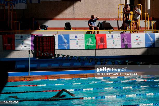 A swimmer competes during the swimming competition of the 2018 Gay Games edition at the GeorgesVallerey swimming pool in Paris on August 10 2018
