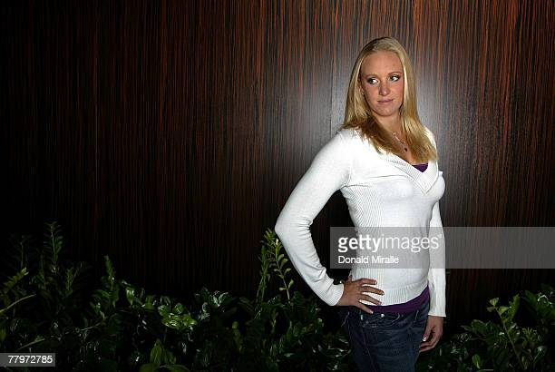 Swimmer Dana Vollmer poses for a portrait prior to the Fourth Annual Golden Goggles Awards at the Beverly Hilton Hotel on November 18 2007 in Los...