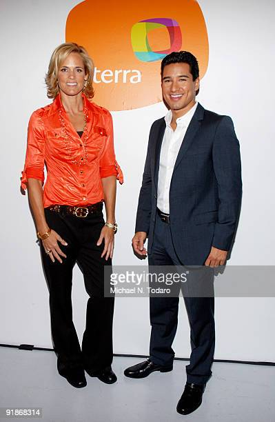Swimmer Dara Torres and actor Mario Lopez attend Orbita US 2009 at The New Museum on October 13 2009 in New York City