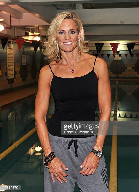 Swimmer Dara Torres coaches the YMCA Piranhas swim team at the BedfordStuyvesant YMCA on September 22 2011 in the Brooklyn borough of New York City