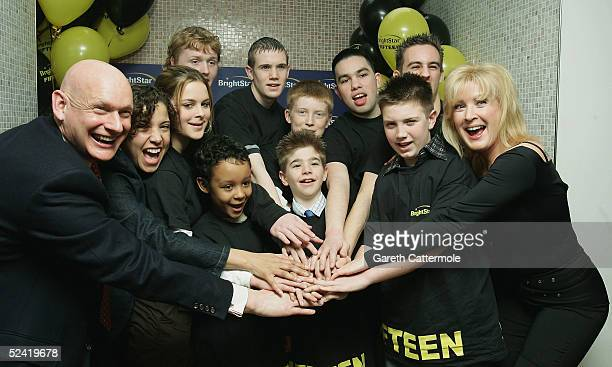 Swimmer Duncan Goodhew Actress Colette Brown and Actress Beverley Callard pose with kids at the launch of BrightStar Learning's Scholarship and...