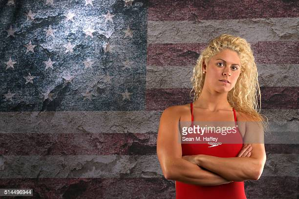 Swimmer Elizabeth Beisel poses for a portrait at the 2016 Team USA Media Summit at The Beverly Hilton Hotel on March 8 2016 in Beverly Hills...