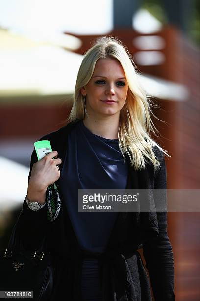 Swimmer Emilia Pikkarainen girlfriend of Williams GP driver Valtteri Bottas arrives in the paddock before qualifying for the Australian Formula One...