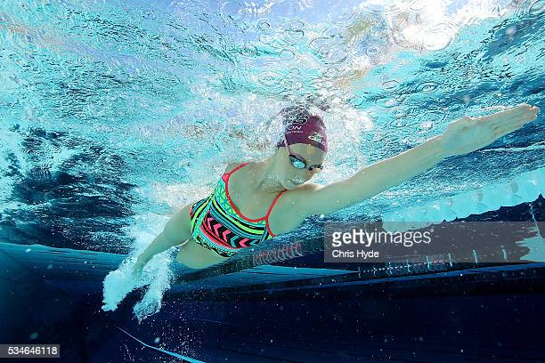 Swimmer Emma McKeon swims during a portrait session on May 27 2016 in Brisbane Australia