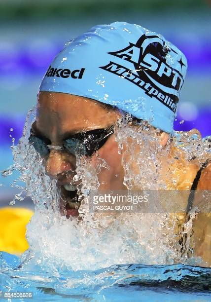 Swimmer Fanny Deberghes competes in the final of the women's final 200meters breaststroke 25m French swimming championships in Montpellier on...
