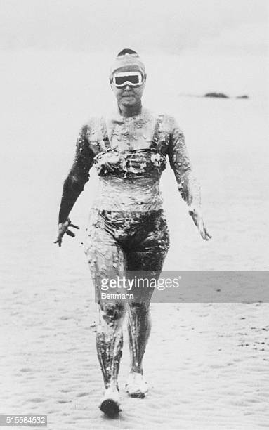 Swimmer Gertrude Ederle covered in lard and petroleum to protect her from the cold water before swimming the English Channel