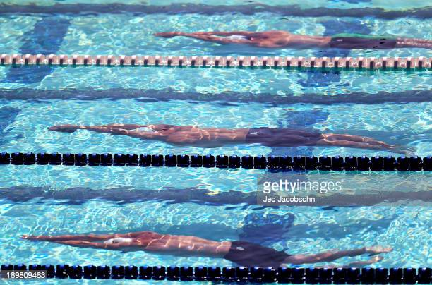 Swimmer glide underwater during a heat of the 200m butterfly during Day Four of the Santa Clara International Grand Prix at the George F Haines...