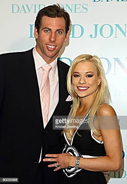 Swimmer Grant Hackett and wife Candice Alley arrive for the David Jones Winter 2008 Collection Launch 'A Japanese Story' at the Melbourne Town Hall...