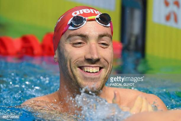 Swimmer Jeremy Stravius reacts after competing in the final of the men's 50meters freestyle 25m French swimming championships in Montpellier on...
