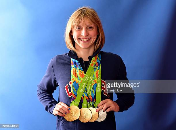 Swimmer Katie Ledecky of the United States poses for a photo with her five medals on the Today show set on Copacabana Beach on August 13 2016 in Rio...