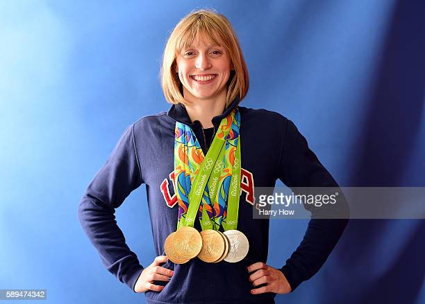 Swimmer, Katie Ledecky of the United States poses for a photo with her five medals on the Today show set on Copacabana Beach on August 13, 2016 in...
