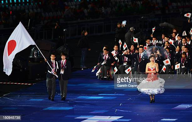 Swimmer Keiichi Kimura of Japan carries the flag during the Opening Ceremony of the London 2012 Paralympics at the Olympic Stadium on August 29 2012...