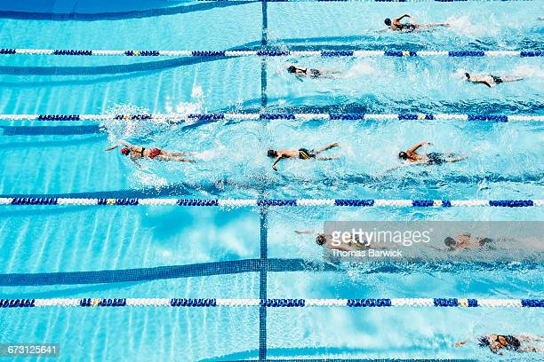 swimmer leading group of competitive swimmers - length stock pictures, royalty-free photos & images